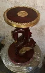 Wooden Table With Metal Fitted, Unique/Antique Bird Structured Round Table, Handicraft Table