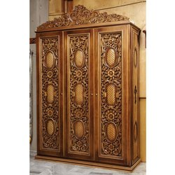 Brown Wooden Carved Almira