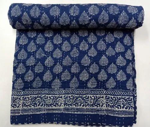 Indian Hand Block Print Indigo Blue Color Kantha Quilt Handmade Bedspread Blanket Quilt