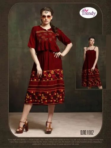 b0917a5002 Anarkali Half Sleeve Trendy Hello Jacket Vol 7 Rayon Fabric Designer Kurti