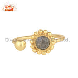 Labradorite Gemstone Designer Gold Plated 925 Silver Wholesale Rings