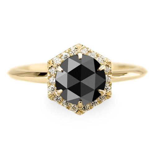 0163c9b075c29 Black Diamond Hexagon Halo Engagement Ring 14k Yellow Gold
