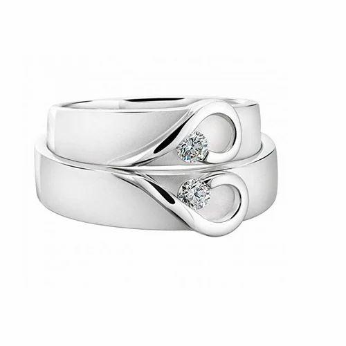 Zevrr Anniversary Zirconia Silver Designer Couple Rings Rs 1699