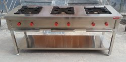 Gas 3 Hottie Three Burner Indian Cooking Range, For Commercial