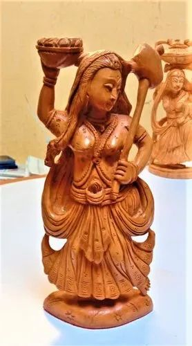 """Wooden Carved Ajanta Lady Statue for Decoration, Size/Dimension: 6"""""""