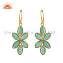 Floral Designer Gold Plated 925 Silver Aqua Chalcedony Gemstone Earrings