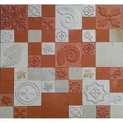 Red And White SAND STONE Designer Cnc Wall Tiles, Packaging Type: Box Packing