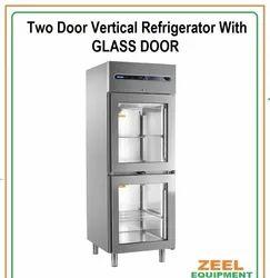 ZEEL Stainless Steel Two Door Vertical Refrigerator with Glass Door, Capacity: 400 Ltr