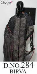 Bhirva 284 Cotton Ganga Pure Embroidery Suit, Size: Free Size