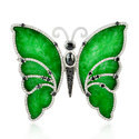 18kt Gold Butterfly Jade Stone Diamond Brooch