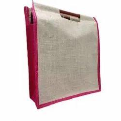 Plain Wooden Handle Jute Bag