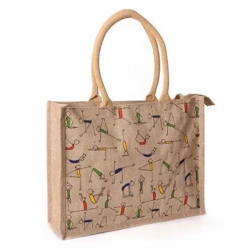 Beige Printed Jute Yoga Print Eco-Friendly Bag