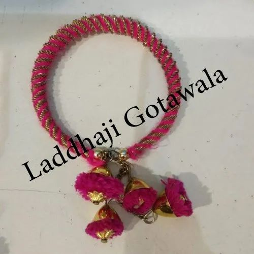 Pink Cotton Thread Lac Bangles