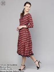 Maroon Ikat Side Gathered Dress