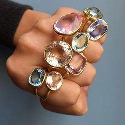 Fashion New Model Women Handmade Amethyst With Topaz Gemstone Ring