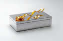 Silver Plated Jewellery Box With Golden Flower