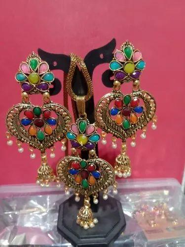 Fancy Pendant Earring Set