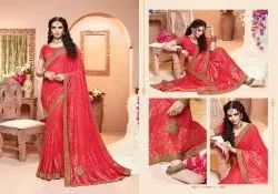 Red Color Designer Lycra Saree