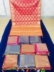 DOT EXPORTS Casual Pooja Traditional Silk Sarees, With Blouse Piece