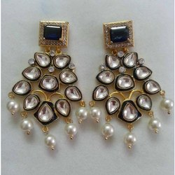 Traditional Golden Look Handmade Big Indian Fine Kundan Stone Silver Earring Jewelry