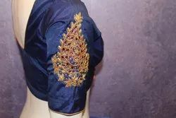 Blue Silk Designer Embroidery Blouse