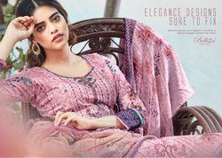Printed Casual Belliza Sapphire Cotton Suit