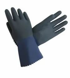 Navy Blue Two Tone Latex Supported Gloves