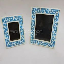 Blue Floral Bone Inlay Photo Frame