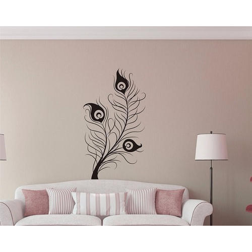 pvc peacock feather wall stickers, size/dimension: 18/24 inch, rs