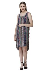 Denimes Multicolor 100% Viscose Floral Print Square Neck Sleeveless Top for Women