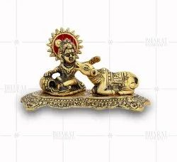 Gold Plated Balkrishna With Cow