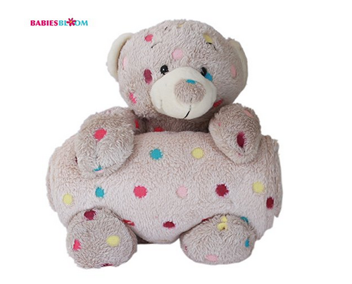 e90c774eff4 Babies Bloom Brown Multi Dot Teddy Bear Cuddle Set - Quilt  at Rs ...