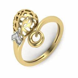 每天穿金色天然钻石休闲磨损戒指