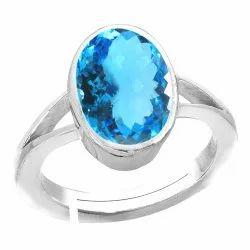Blue Topaz Silver Ring Gemstone