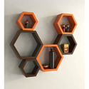Jaipur Crafts & Webel Kart Orange & Brown Antique Wall Shelf Rack