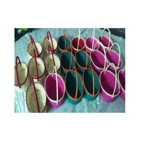 Green Pink Palm Leaf Pooja Basket Size 6 4 3 8 4 5 3 Rs 65
