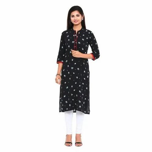 Straight 3/4th Sleeve Designer Floral Print Cotton Kurti, Size: S - XXL