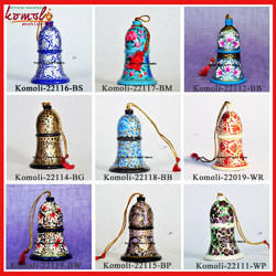 Hand Painted Wood Papermache Christmas Bells Ornaments Decor