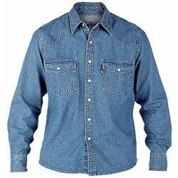 Blue Plain Mens Denim Shirt, Size: XL