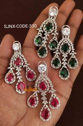 Princess Copper Diamond Earring, Weight: 50 gm, Packaging Type: Box