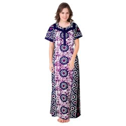Printed Blue Cotton Nightgown