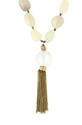 Golden Metal Chain Nugget & Off White Semi Precious Stone With Chain Tassel Necklace