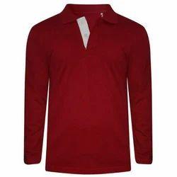 Men's Cotton Full Sleeve Red Plain Casual T-Shirt