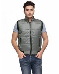 Grey Polyster Mens Sleeveless Winter Jackets