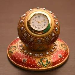 Table Analog Clock Hardstone With Fine Handcrafted Floral Art Work Size