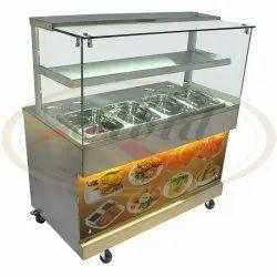 灰色不锈钢小吃柜台,用于商业