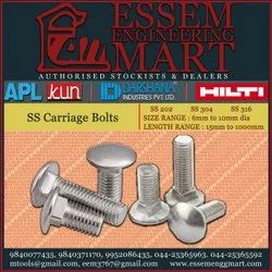 Stainless Steel Round SS Carriage Bolts, Size: 6mm - 10mm