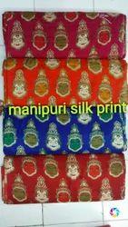 44-45 Manipuri Silk Printed Blouse Fabric, GSM: 100-120