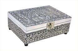 Decorative Silver Plated Wooden Jewellery Box For Gifts
