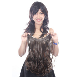 Women Half Synthetic Dark Brown Curly Hair Extension